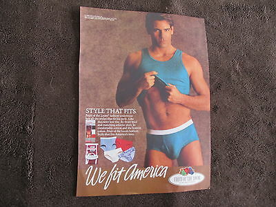 Fruit Of The Loom Men Underwear Print Ad ,clipping 1988