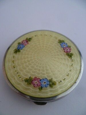 Stunning Double Sided Solid Silver & Guilloche Enamel Compact Hallmarked