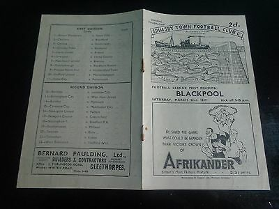GRIMSBY TOWN v BLACKPOOL  League Div 21 March 22nd  1946/7