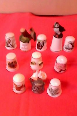 Eleven Quality Thimbles Lot.  /aynsley/pewter/sutherland Etc.,all Listed Below