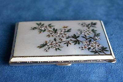 Antique Sterling Silver Dogwood Flower Tree Guilloche Enamel Cigarette Case Box