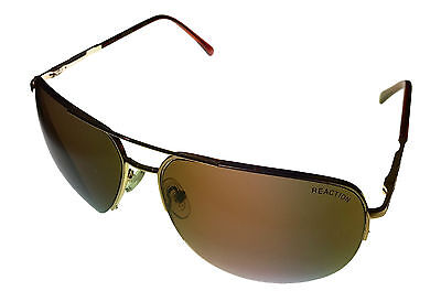 Kenneth Cole Reaction Sunglass Gold Rimless Metal Aviator, Brown Lens KC1098 32E