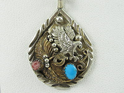Sterling Silver Necklace Signed B Coral Turquoise Eagle Native American Southwes