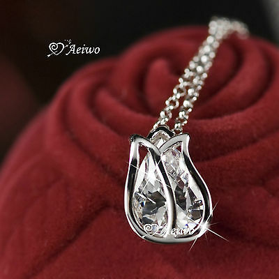 18K Gf White Gold Clear Crystal Tulip Flower Pendant Necklace