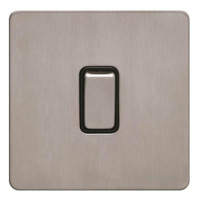1 Gang 2 Way Screwless Flat Plate Light Switch 10AX Brushed Stainless Steel