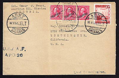 Philippines ovpted US & Austria stamp on Army Signals USA Military cover 1955