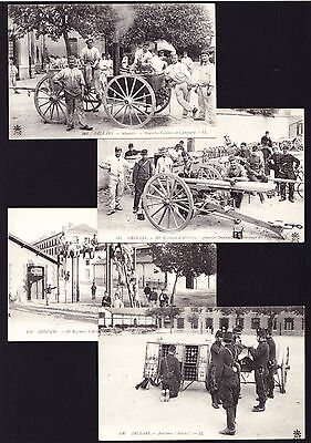Collection of 4 French postcards Orleans Infantry Artillery Guns Weapons France