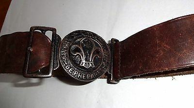 Uk Scouting: Vintage Boy Scout Stitched Leather Belt With Baden Powell Clasp