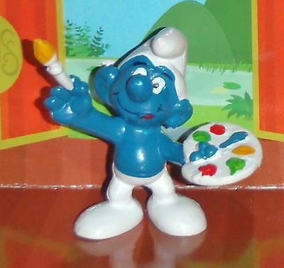 Vintage Rare Painter Smurf With A Brush & Paints 1978 Smurf Lot