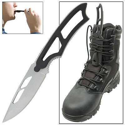 Tactical Warrior Drop Point Full Tang Emergency Whistle Outdoor Boot Knife