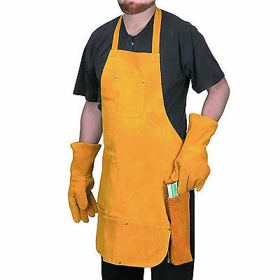 HFT 94128 - Welder's Leather Combo Set 3 Piece  - Apron - Gloves - Rod Holder