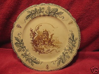 """Antique French Choisy le Roi dish 9 1/2"""" Plate  Louis XIII Le Pigeonnier pigeon"""