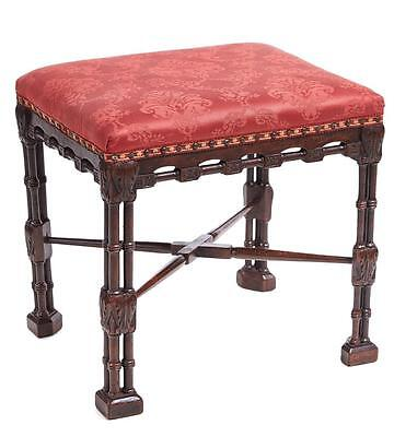 19Th Century Late George Iii Chinese Chippendale Mahogany Stool