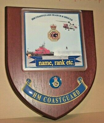 HM Coastguard Search and Rescue Wall Plaque with free name rank & number.