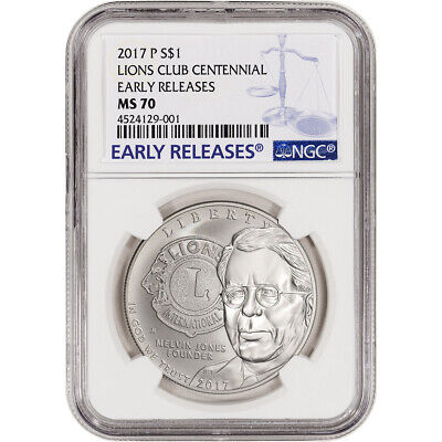 2017-P US Lions Club Commemorative BU Silver Dollar - NGC MS70 - Early Releases