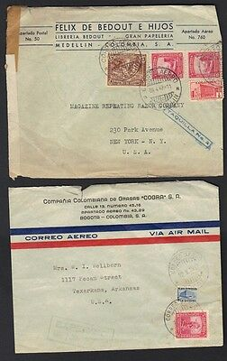 COLUMBIA 1940-50's COLLECTION OF 15 COVERS TO US SOME CENSORED VARIOUS FRANKINGS