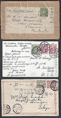 JAPAN 1899 1920's COLLECTION OF SIX COMMERCIAL ITEMS 4 POST CARDS & TWO COVERS