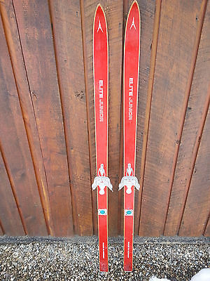"VINTAGE Wooden 58"" Skis Signed ELITE JUNIOR with  RED Finish"