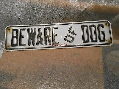 Vintage Beware of Dog Embossed Metal Sign 12""