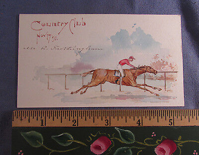 Antique 1891 Equestrian Watercolor -  Horse Racing Painting