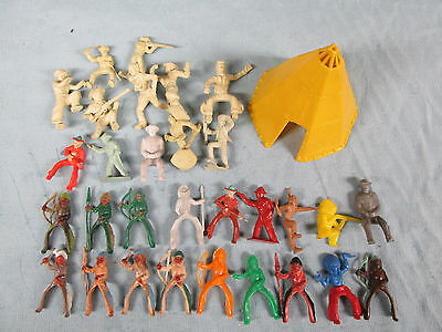 Vintage Mixed Lot Plastic Playset Pieces 30 Figures Indians Military 1 Teepee