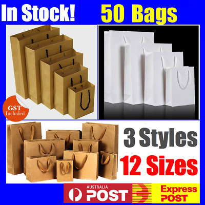 Bulk 30-200 Brown Craft Paper Gift Carry Bags Small Medium Large With Handles