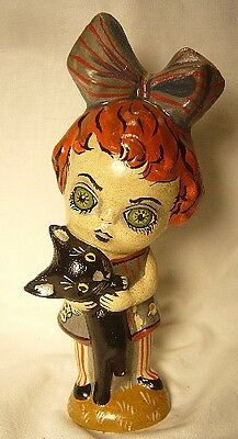 Vaillancourt Folk Art Ghouly Girl w/ Cat Halloween Personally signed by Judi!!