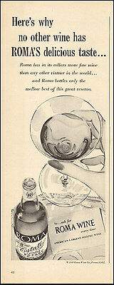 1949 Vintage ad for Roma Wine`Bottle Glass  (103016)
