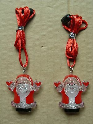 Pair Of Christmas Necklaces With Blinking Santa Claus Pendants *new*