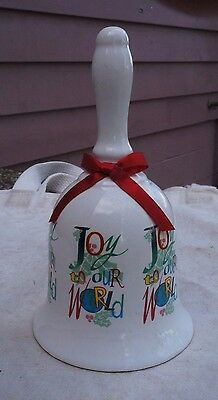 Vintage Joy to Our World Christmas Bell,white porcelain,1980s,red bow -yule,xmas