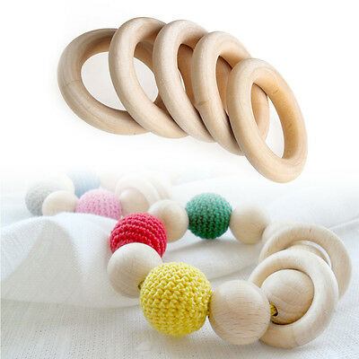 5 pcs Crafts DIY Baby Teething Natural Wooden Rings Necklace Bracelet 55mm