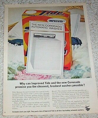 1963 vintage ad -TIDE Laundry soap detergent & Coronado Washer PRINT ADVERT Page