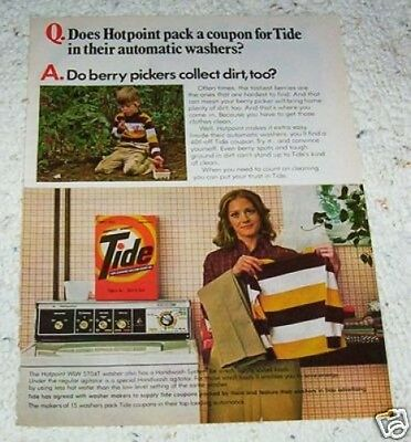 1978 vintage ad - TIDE laundry soap -Hotpoint washer- dirty boy PRINT AD
