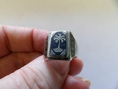 Vintage sterling silver niello ring Iraq 1943 hand made ww2? Size P 556-4
