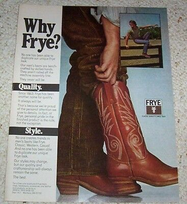 1981 advertising - Frye mens Cowboy western Boots 1-PG AD