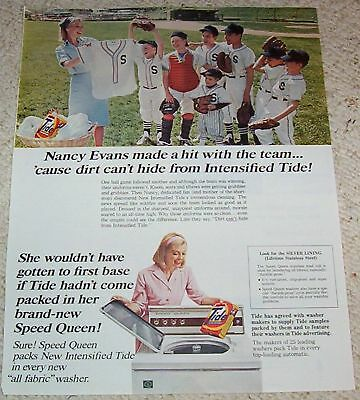 1967 vintage ad - TIDE Laundry soap Speed Queen BASEBALL boys OLD AD