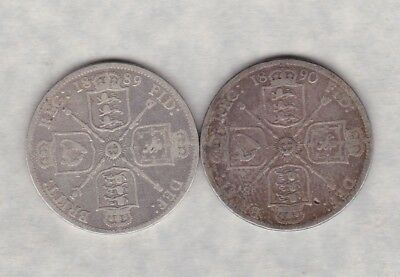 1890 Victorian Silver Florin In A Well Used Fair To Fine Condition