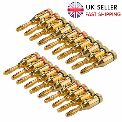 20Pcs Gold Plated Musical Audio Speaker Cable Wire Connector 4mm Banana Plugs