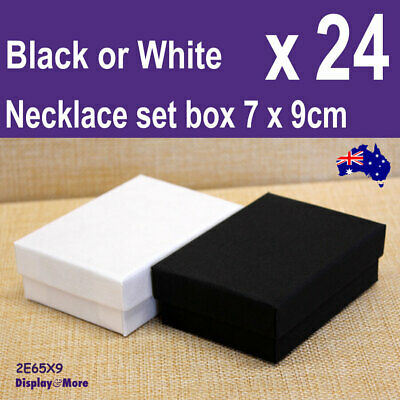 24X Necklace Earring Ring Gift Box-6.5x9cm- PLAIN Black or White | AUSSIE Seller