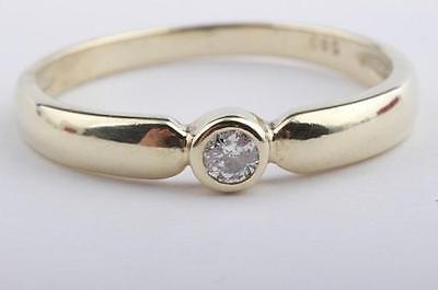 Brillant Diamant Ring in aus 585 er Gelbgold mit Brilliant Solitär Gr 56 -