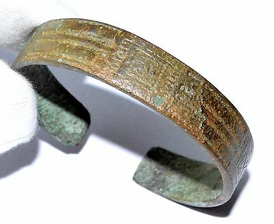 Genuine Medieval Bronze Bracelet - Decorated W/ X Pattern - Wearable - St98