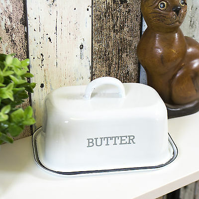250g White Grey Enamel Butter Dish with Lid Distressed Dining Table Serving Bowl