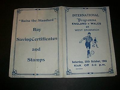 ENGLAND v WALES at WEST BROMWICH ALBION  1945   RARE PIRATE PROGRAMME ***