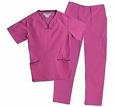 NEW Natural Uniforms Women's Contrast Trim Scallop Scrub Set - Pink - Large