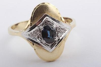 Ring mit Saphir Safir und Diamanten Brillanten in 750 er Bicolor Gold GG/WG .