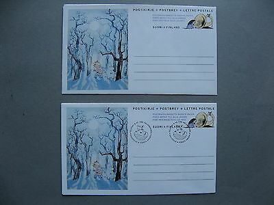 FINLAND, 2x ill. postage paid cover 1992, mint and FDC, winter in Mumin-valley