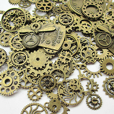 100 Grams (Approx 70pcs) Steampunk Gears Charms Clock Watch Wheel Gear for Craft