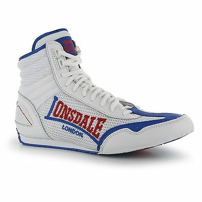 Lonsdale Contender Boxing Boots Mens White/Blue Trainers Sneakers Gym Shoes