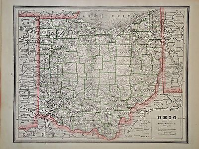 Vintage 1888 Map ~ Ohio ~ Old Antique Original Atlas Map *Free S&H100616