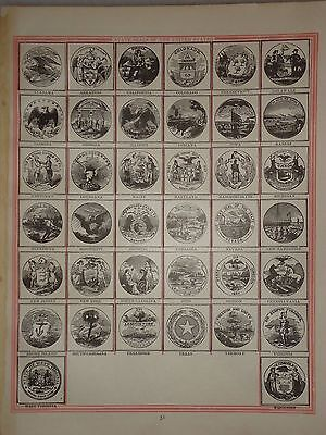 1885 DIAGRAM STATES SEALS of the US ~ OLD ANTIQUE ATLAS  FREE S&H 85/122416
